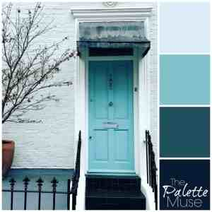 A bright ice blue door sets the tone for these cool blues. #thepalettemuse #colorpalette #colorinspo