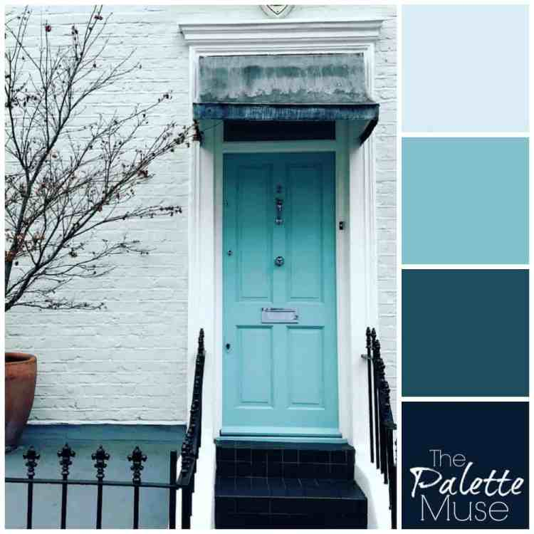 Blue Door Palette: A bright ice blue door sets the tone for these cool blues. #thepalettemuse #colorpalette #colorinspo