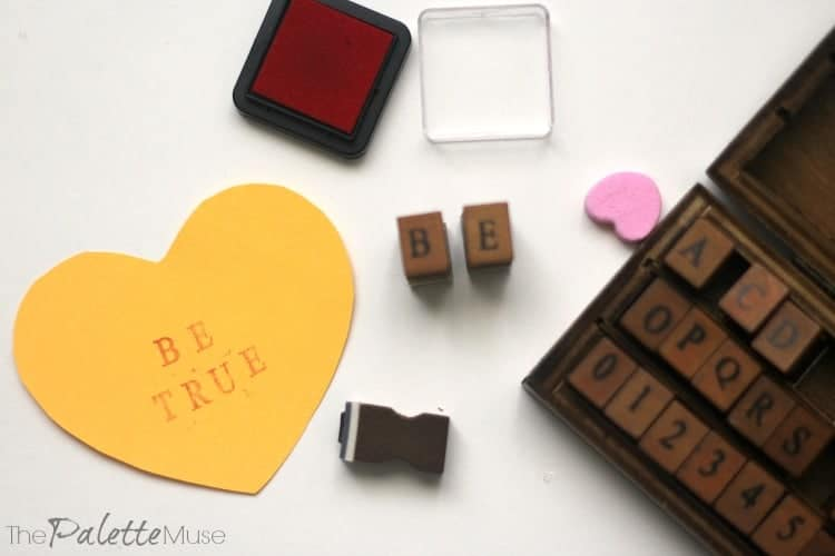 Stamped Conversation Hearts, Such a cute craft for Valentines Day! #Valentines #conversationhearts #easycraft