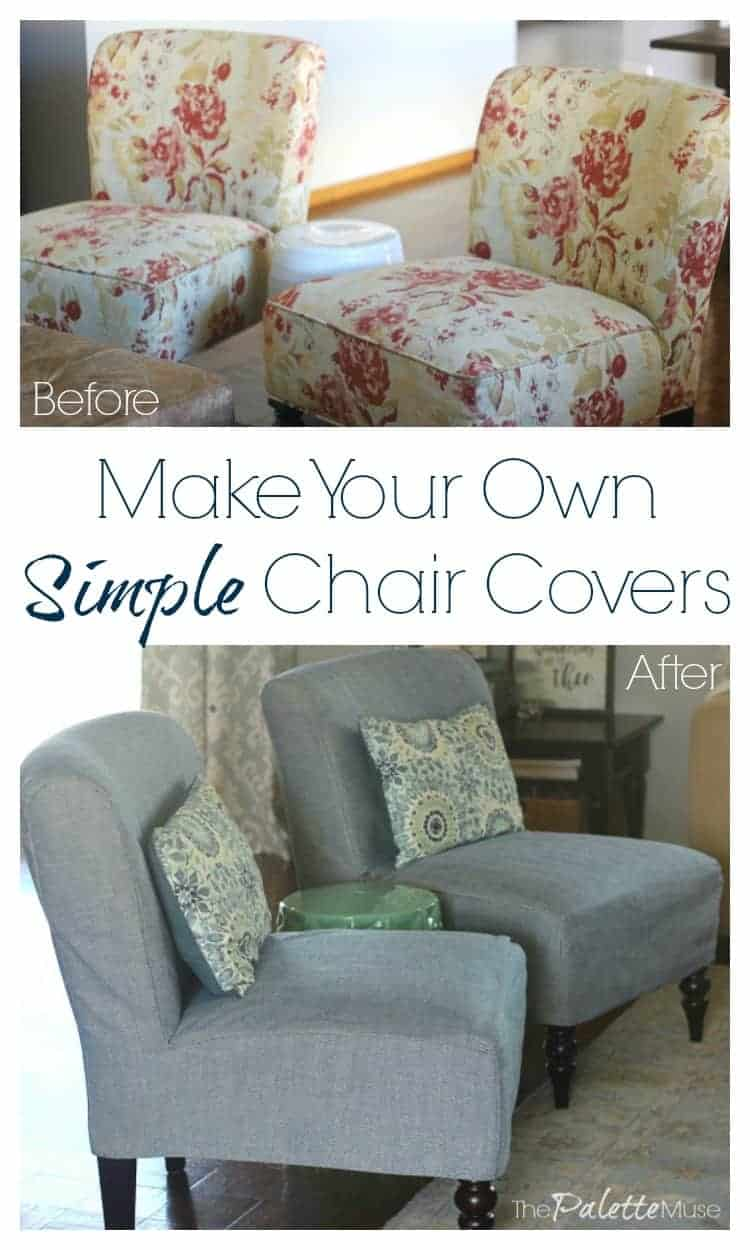Find out how easy it is to make your own simple chair covers. No upholstery experience needed! #slipcovers #DIYdecor #springrefresh
