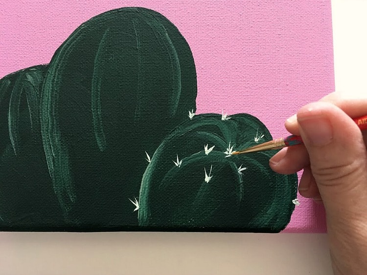 Adding spikes to cactus color palette painting.