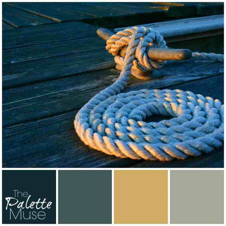 Dockside palette that pulls greens, blues, and even sunny yellow from an ordinary sight. #colorpalette #coolcolors #thepalettemuse