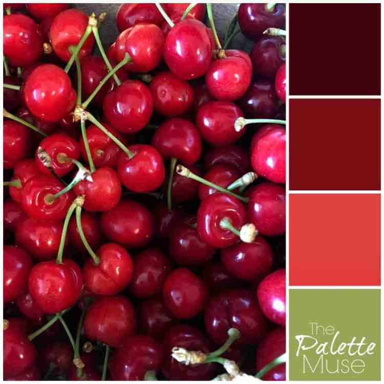 Red color palette based on picture of bright red ripe cherries