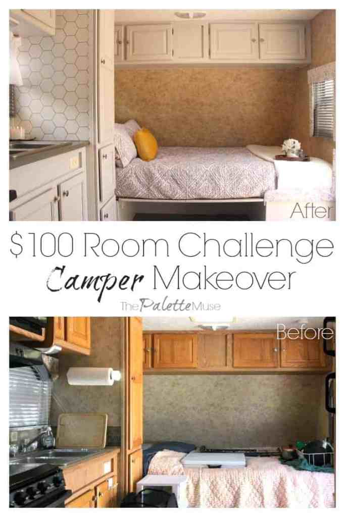 Camper Makeover Reveal - before and after. This little camper got a BIG remodel, using mostly paint. Come see how the whole project clocked in at $103! $100roomchallenge #campermakeover #thriftyDIY