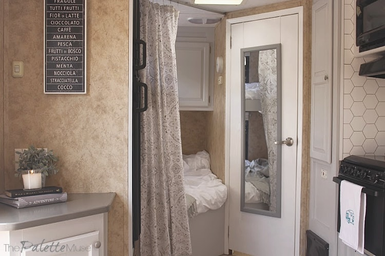 Camper Makeover Reveal - Soft netural colors and a variety of textures really brought this space together. #campermakeover #100roomchallenge #smallspaces