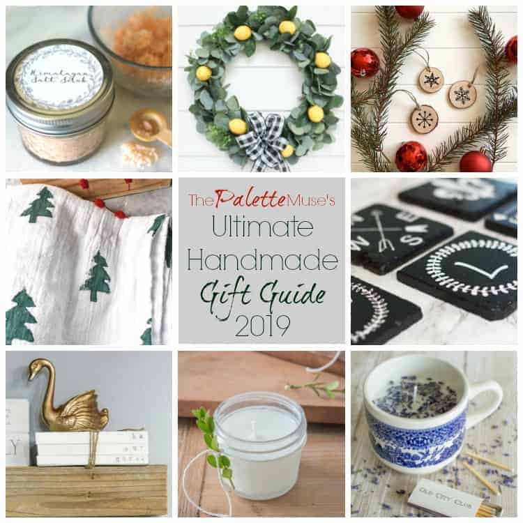 Gift guide with handmade candles, towels, ornaments, and salt scrub.