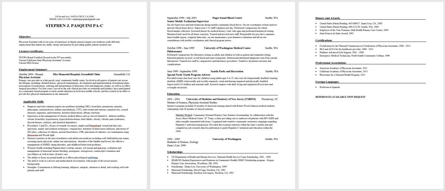 Office Resume Template Practicing Physician Assistant Resume And Cv Template