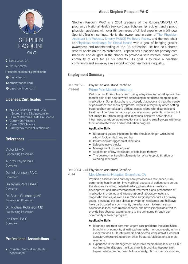 My Cv Resume Use Visualcv To Create A Stunning Physician Assistant Resume The