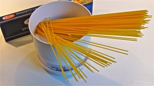 Pasta being weighed