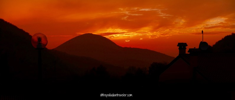 Fiery sky at sunset over the Colli Euganei (PD), Italy