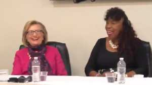 IS SHE CRAZY? Hillary nods in agreement when called 'the real president'