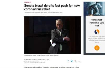 Politico changes headline to defend Democrats after they block small business relief bill