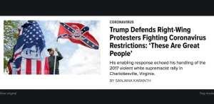 Huff Po compares anti-quarantine protestors to Charlottesville marchers