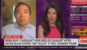 "When Asked About Biden's ""Black"" Comment Yang's Feed Cuts Out"