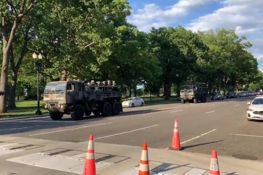 WATCH: Military Convoy Moves Through Washington DC