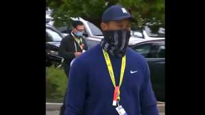 Tiger Woods Wears American Flag Face Mask At PGA Championship
