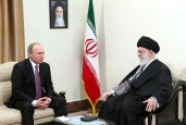 epa05038404 A handout picture made available by the supreme leader official website shows Iranian supreme leader Ayatollah Ali Khamenei (R) meeting with Russian President Vladimir Putin in Tehran, Iran, 23 November 2015. Putin is in Tehran to attend the third summit of Gas Exporting Countries Forum (GECF) which will be held in Tehran on 23 November.  EPA/LEADER OFFICIAL WEBSITE / HANDOUT  HANDOUT EDITORIAL USE ONLY/NO SALES