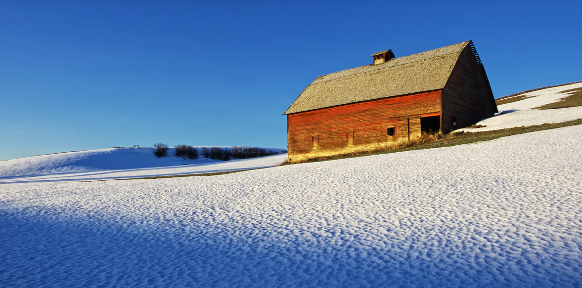 Snow Patterns surround a Barn by Gary Hamburgh - All Rights Reserved