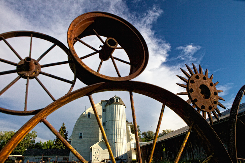 Barn through the Wheels by Gary Hamburgh - All Rights Reserved