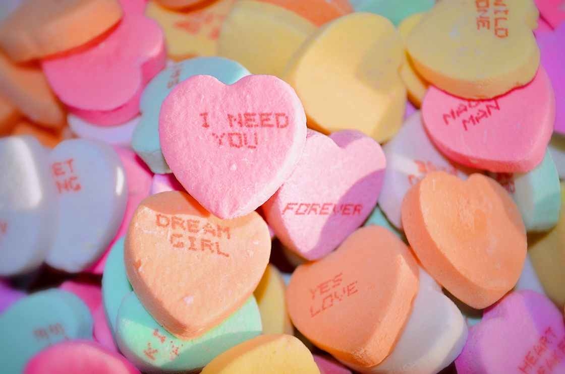 multicolor heart shaped candies
