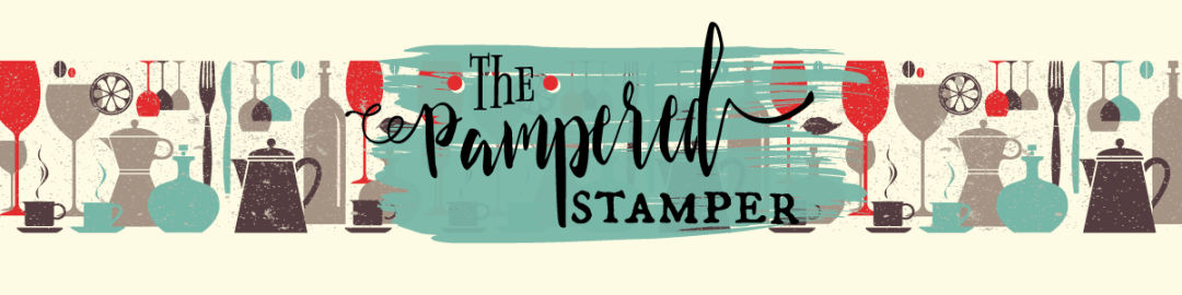 """The Pampered Stamper header graphic. Vintage pattern of wine glasses, carafes, coffee cups with """"The Pampered Stamper"""" logo."""
