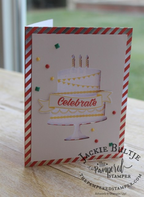 I love the enamel shapes on this Celebrate card from the BIrthday Bright Project Kit.