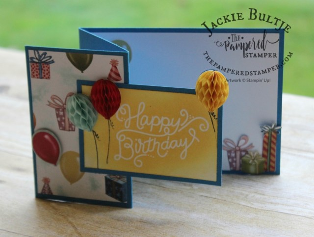 This emboss-resist technique works great with the sentiment and the paper is just beautiful in this Birthday Memories suite available June 1.