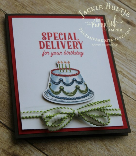 Super simple cake card- the cake is cut out with a framelit with the patterned paper.