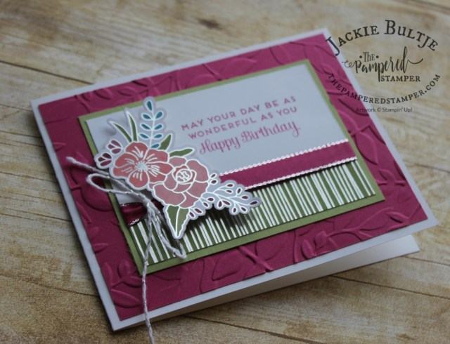 Leaf embossing folder with Cake Soiree embellishments