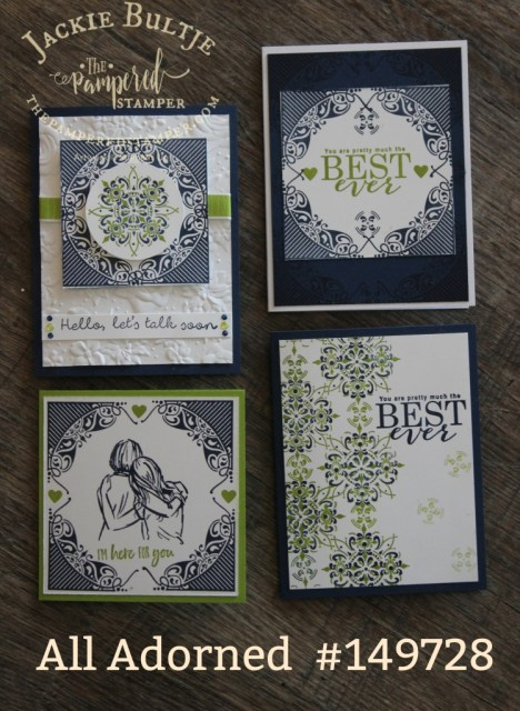 My collection of All Adorned cards in night of navy and granny apple green. Free with $60 purchase until March 31.