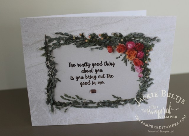 Petal Promenade paper is used both for the focal point and the background of this card together with Wonderful Moments.