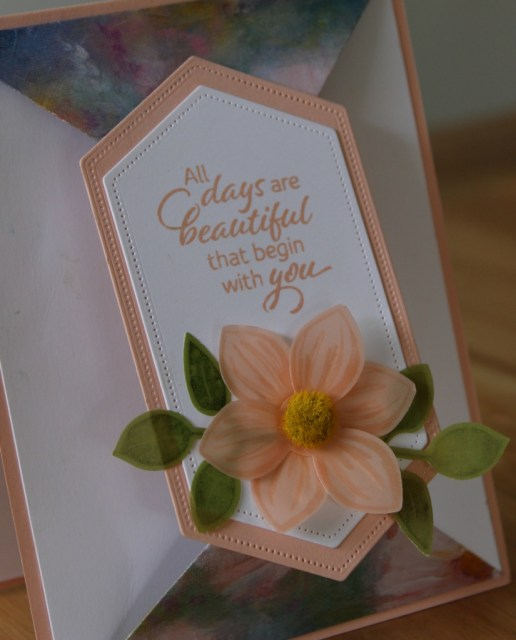Pretty vellum flower on the double point card