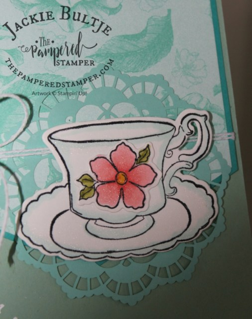 Closeup of the teacup for Mother's Day tea cards
