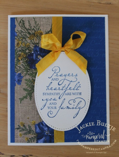 Absolutely love the blue flowers on the burlap background of this Pressed Petals paper. The crushed curry seam binding ribbon is a lovely contrast.