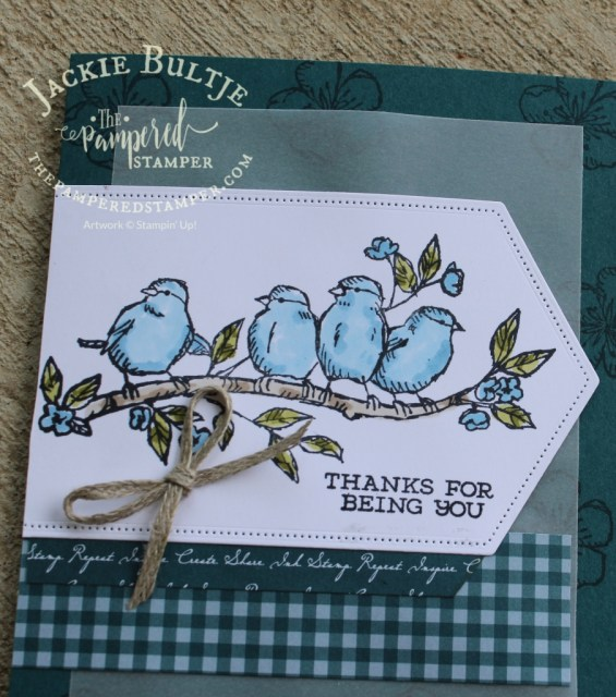Pretty Peacock designer series paper and Free As a bird with Stitched Nested Label dies