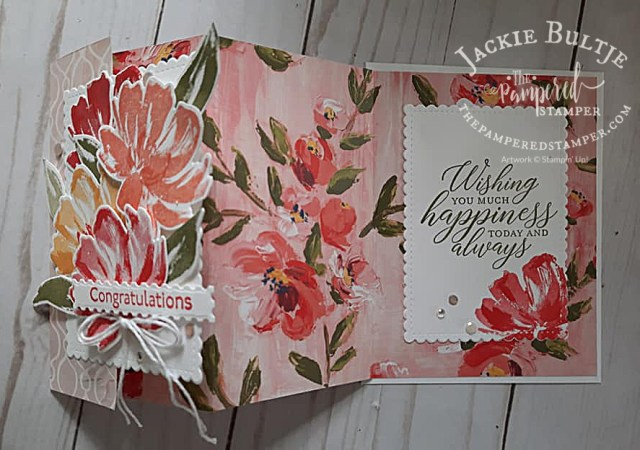 Fine Art Floral accordion fold card open
