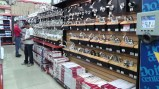 Faucets, shower heads, and everything you would need for plumbing. The next aisle has every PVC pipe item you could imagine.