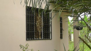 My next door neighbor has very pretty security window covers. Some, like ours, are recessed so they look like part of the window, and others like these are put on the outside of the window.