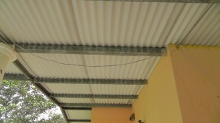 This is the underside of our roof, the tin on the metal supports.
