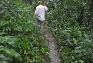 When we got down on the flat part, the path was under a bit of water.