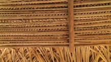 The underside of the thatched roof.