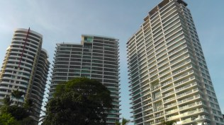 We decided to walk back along the beach, and this was the view looking back at the condo towers.