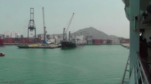 We dock next to this busy container area.