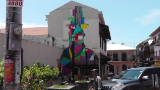 More colorful art on a wall.