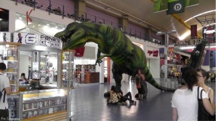 We ate at this food court above and looked down at this t-Rex on guard below