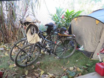 """The bikes sit in front of their """"home"""" while they are here. They have spent so many nights in their tent that it does indeed feel like home to them, and they said they slept wonderfully."""
