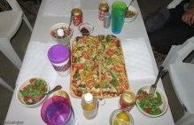 We cooked one night, and they treated us to this great dinner the other night - home made pizza and salad.