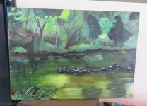 This is the river behind my house, again from a photograph I took. He worked with me a lot on making more contrast with light and dark, just touches here and there but it really made the painting start to come alive.