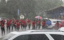 The first band was soaking wet!