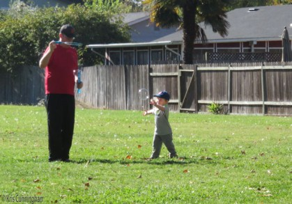 Dad has the great wand that makes big bubbles.